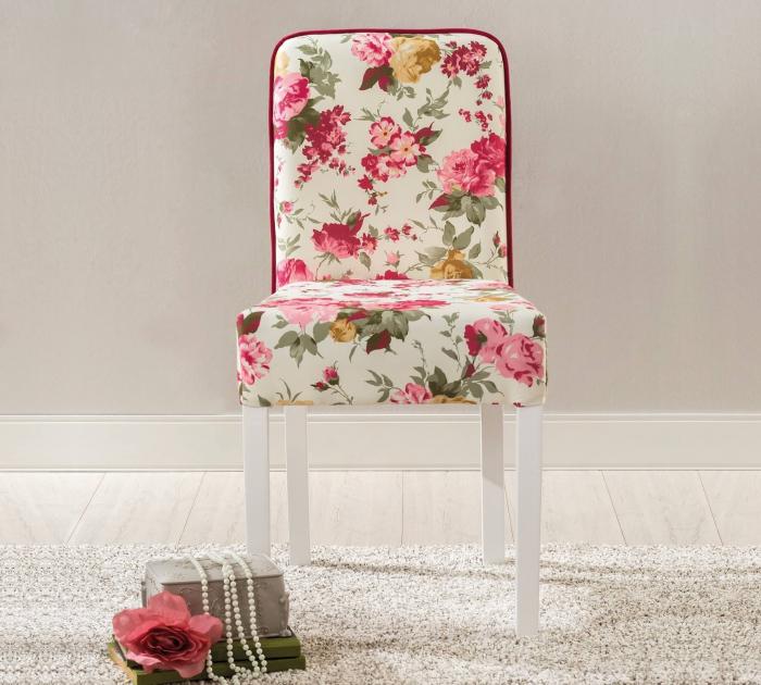 Scaun pentru copii, tapitat cu stofa cu picioare din lemn Summer Chair With Flower [3]
