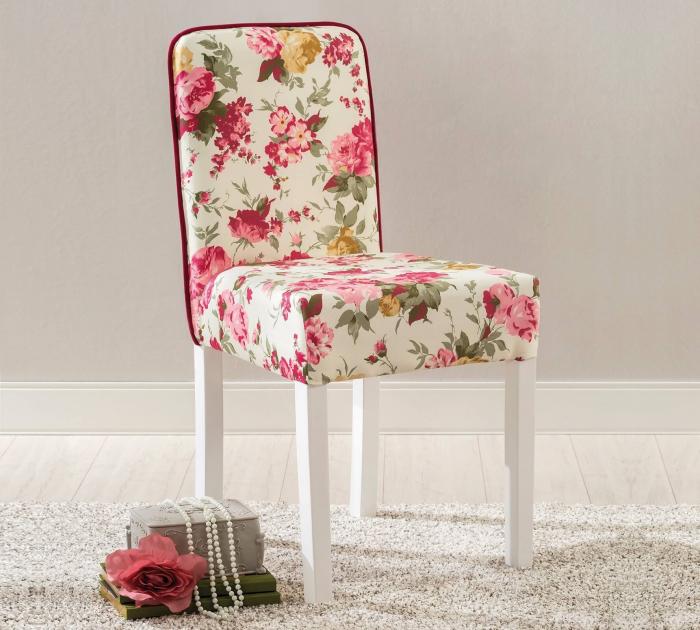 Scaun pentru copii, tapitat cu stofa cu picioare din lemn Summer Chair With Flower [1]