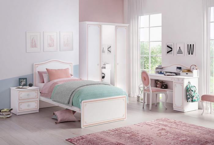 Set din 5 piese pentru camera fetelor, Colectia Selena Pink (pat 120 cm) [0]