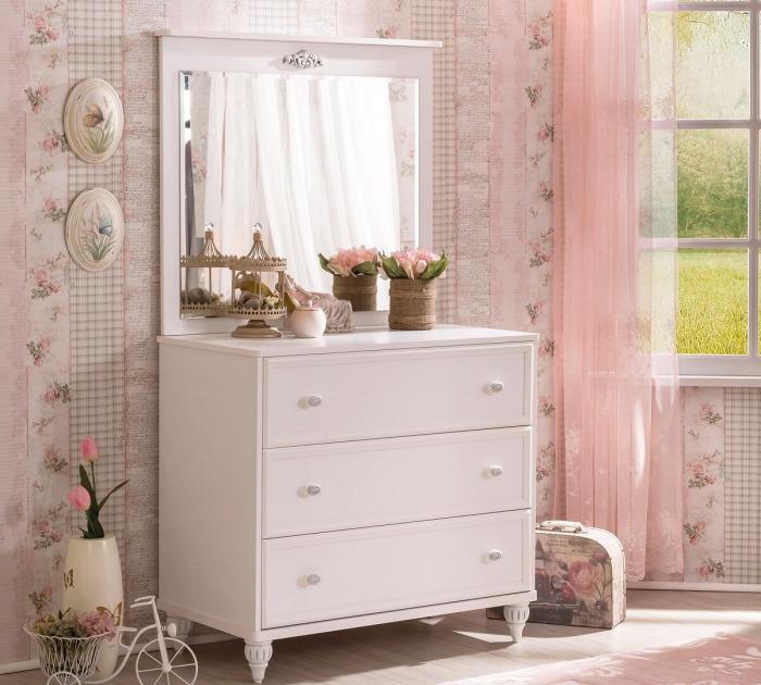 Set din pat 100x200 cm, dulap si comoda+oglinda Colectia Romantica [6]