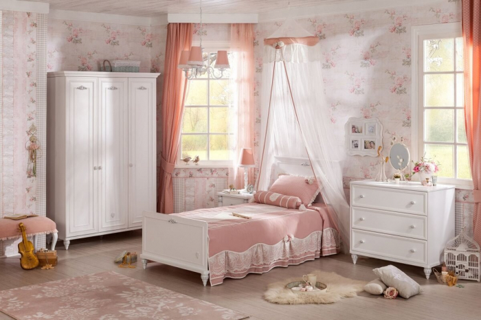Set din pat 100x200 cm, dulap si comoda Colectia Romantica [0]