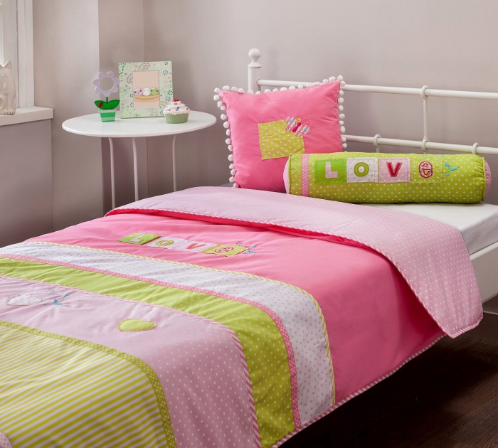 Set pentru pat copii, Colectia Love 90 x100 cm [2]