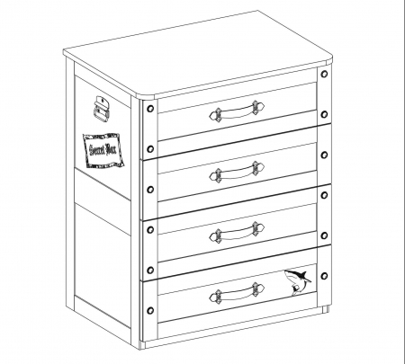 Comoda cu 4 sertare, pentru camera baieti, Colectia Pirate [3]