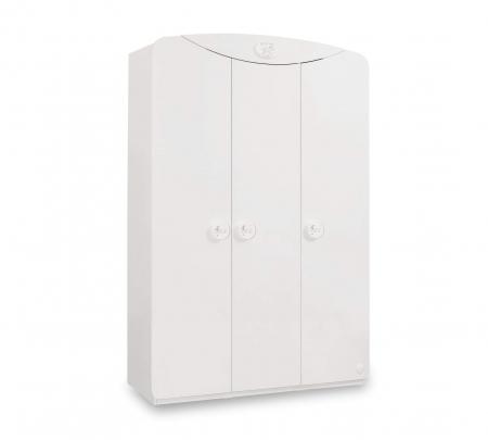 Dulap cu 3 usi, pentru copii Baby Cotton White, 133x54x201 cm [0]
