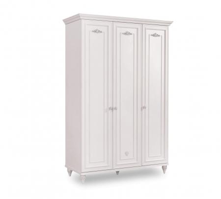 Dulap cu 3 usi pentru copii si tineret Romantica White, 131x56x200 cm [0]