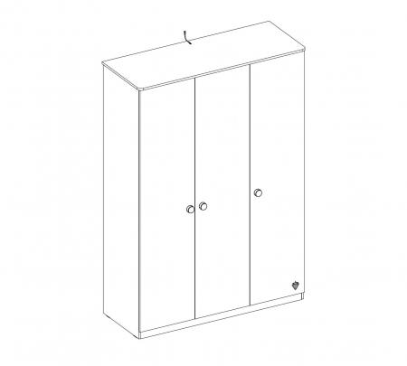 Dulap cu 3 usi, pentru tineret Colectia Mocha, 137x56x197 cm [3]