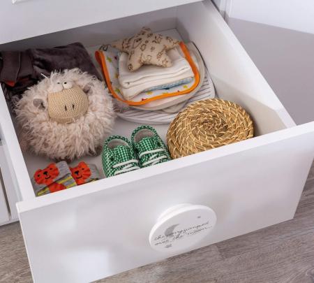 Dulap cu 3 usi si 2 sertare, pentru copii Baby Cotton White [3]