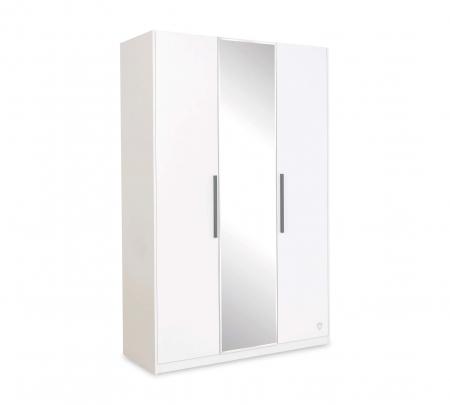 Dulap cu 3 usi si oglinda, pentru tineret Colectia White, 135x44x209 cm [0]