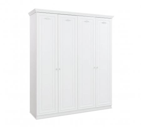 Dulap cu 4 usi, pentru copii si tineret Romantica White, 188x56x214 cm [0]