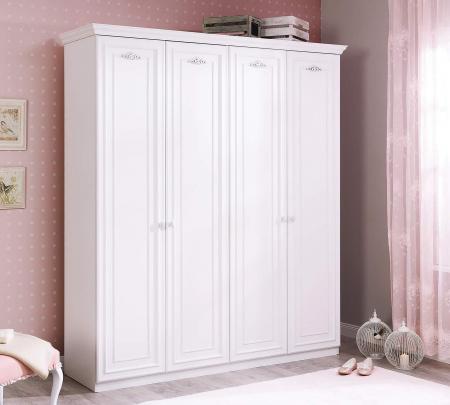 Dulap cu 4 usi, pentru copii si tineret Romantica White, 188x56x214 cm [1]