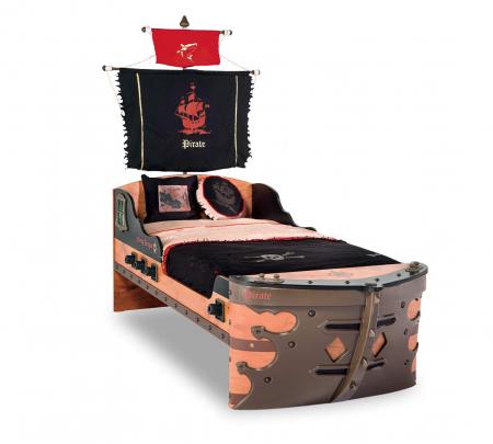 Pat corabie pirati, pentru camera copii Colectia Pirate 90x190 cm [0]