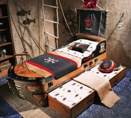 Pat corabie pirati, pentru camera copii Colectia Pirate 90x190 cm [1]