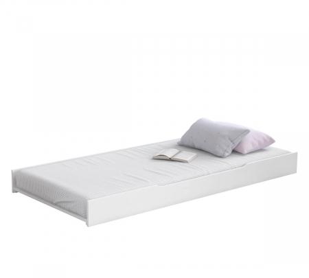 Pat cu sertar si 4 perne, pentru copii Daybed Alb, 200 x 90 cm [2]