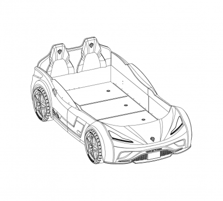 Pat masina GTS-alba, colectia Champion Racer 99x191 cm [7]