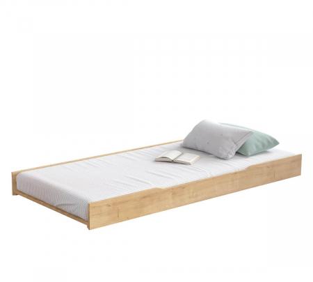 Pat cu sertar si 4 perne, pentru copii Daybed Stejar, 200 x 90 cm [2]