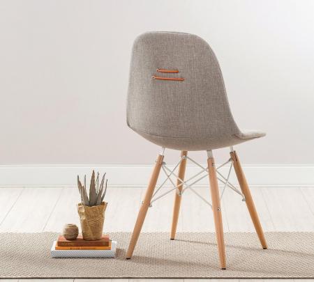 Scaun pentru copii, tapitat cu stofa cu picioare din lemn Quatro Chair Beige [2]