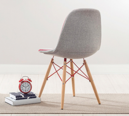 Scaun pentru copii, tapitat cu stofa cu picioare din lemn Quatro Chair Grey [2]