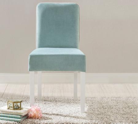 Scaun pentru copii, tapitat cu stofa cu picioare din lemn Summer Blue [2]