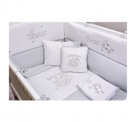 Set lenjerie pentru patut bebe, colectia Cotton baby 75x115 cm [0]