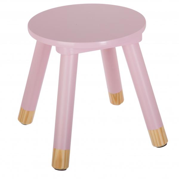 Scaunel copii, din lemn, forma rotunda, roz, inaltime 26 cm 0