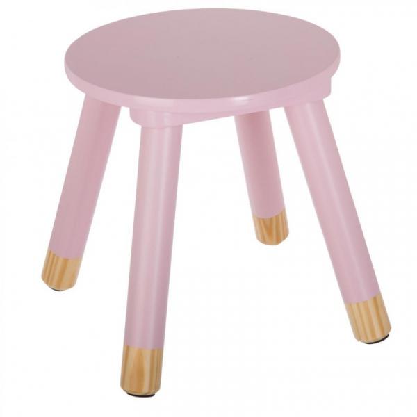 Scaunel copii, din lemn, forma rotunda, roz, inaltime 26 cm 1