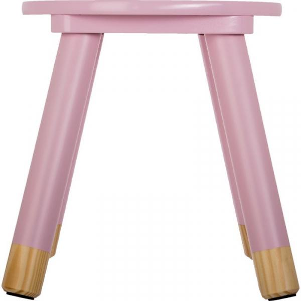Scaunel copii, din lemn, forma rotunda, roz, inaltime 26 cm 2