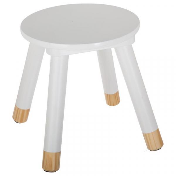Scaunel copii, din lemn, forma rotunda, alb, inaltime 26 cm 1