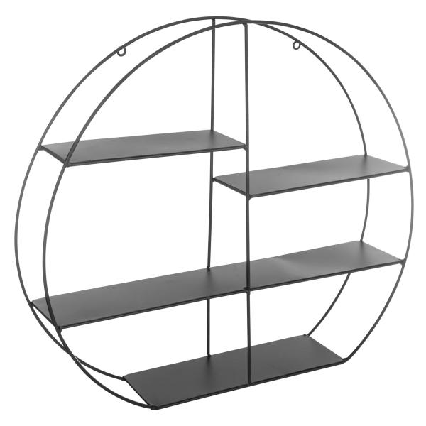 raft-de-perete-metalic-forma-rotunda-culoare-neagra 0