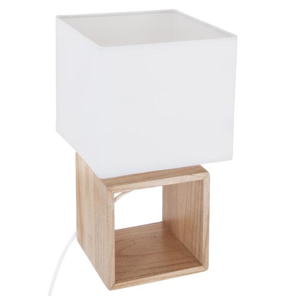 Veioza design scandinav, baza de lemn, abajur patrat, alb 0