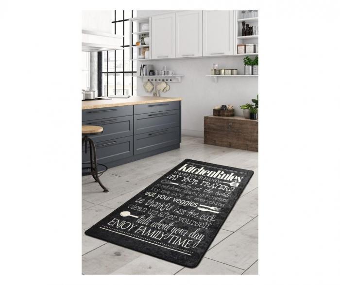 Covor Bucatarie Kitchen Motto Negru 80 x 150 cm [0]