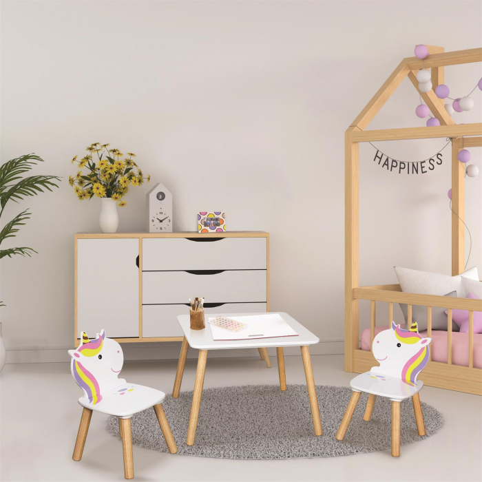 set masuta si scaunele copii unicorn 1