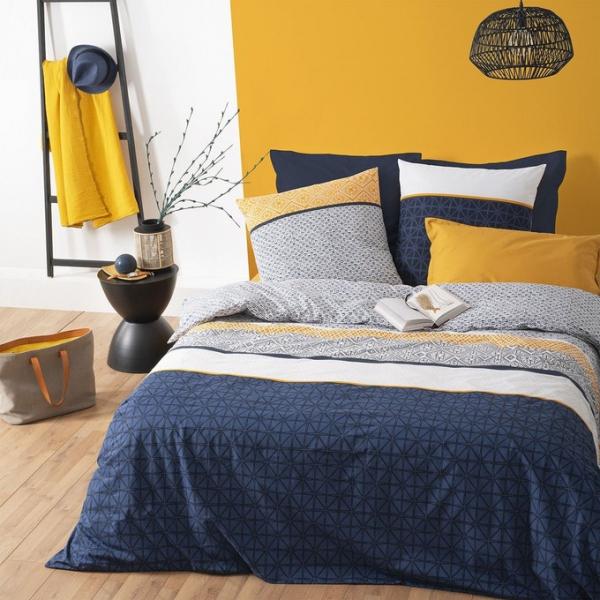 Lenjerie de pat, bumbac, set 2 persoane, Atmosphera, Etni Blue 0