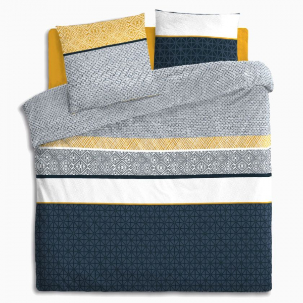Lenjerie de pat, bumbac, set 2 persoane, Atmosphera, Etni Blue 1