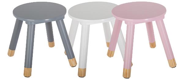 Scaunel copii, din lemn, forma rotunda, roz, inaltime 26 cm 4