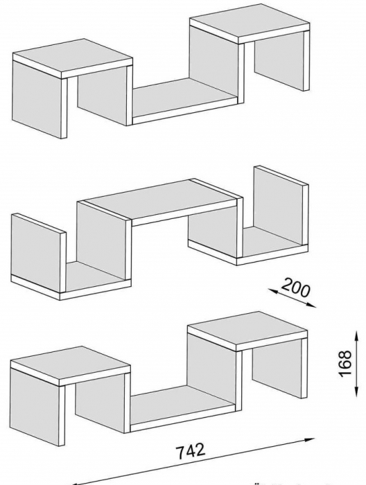 Set 3 rafturi de perete Elegant Wenge [1]