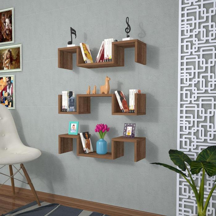 Set 3 rafturi de perete Elegant Wenge [0]
