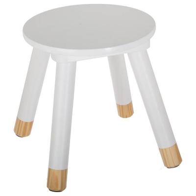 Scaunel copii, din lemn, forma rotunda, alb, inaltime 26 cm1