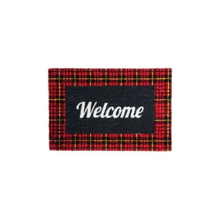 Covor Intrare Welcome Negru Rosu 40 x 60 cm [1]