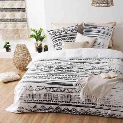 Lenjerie de pat, bumbac, set 2 persoane, Etnic Alb-Negru1