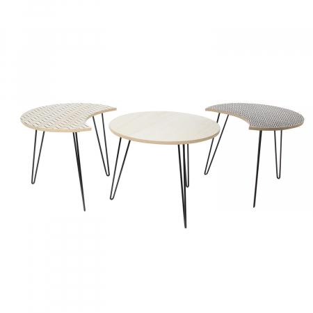 Masuta cafea, set 3 bucati design modern, culori diferite, Trio4