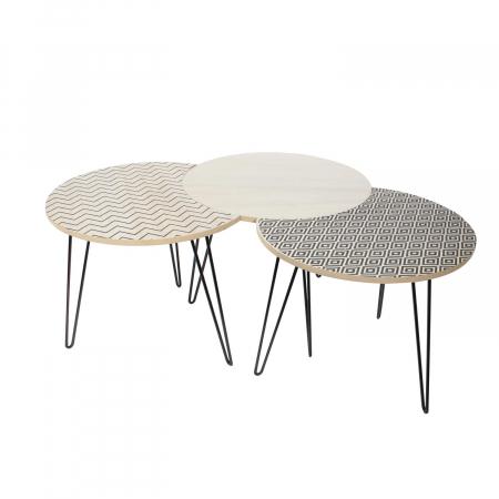 Masuta cafea, set 3 bucati design modern, culori diferite, Trio3
