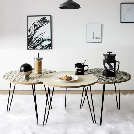 Masuta cafea, set 3 bucati design modern, culori diferite, Trio1