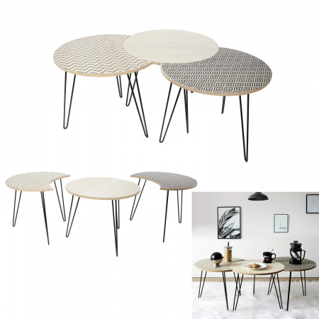 Masuta cafea, set 3 bucati design modern, culori diferite, Trio0
