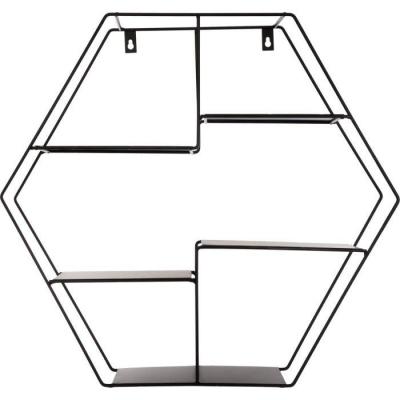 Raft de perete, metalic, forma hexagonala, culoare neagra1