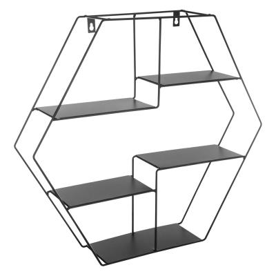 Raft de perete, metalic, forma hexagonala, culoare neagra0