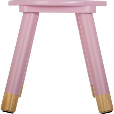 Scaunel copii, din lemn, forma rotunda, roz, inaltime 26 cm1