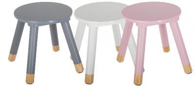 Scaunel copii, din lemn, forma rotunda, roz, inaltime 26 cm4