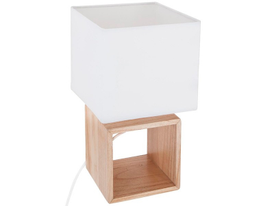 Veioza design scandinav, baza de lemn, abajur patrat, alb2