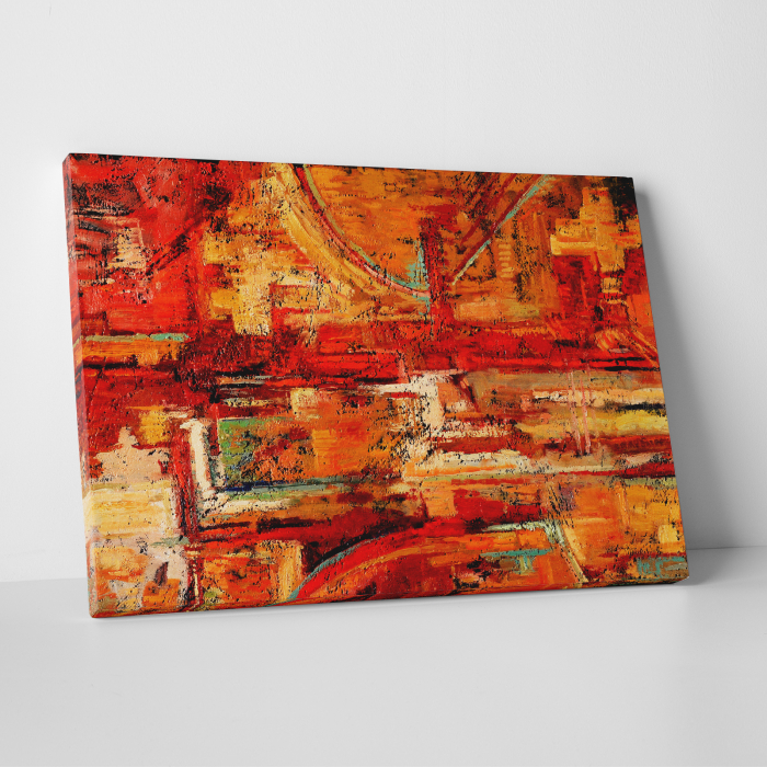 Tablou canvas abstract, Caramizi rosiatice 0