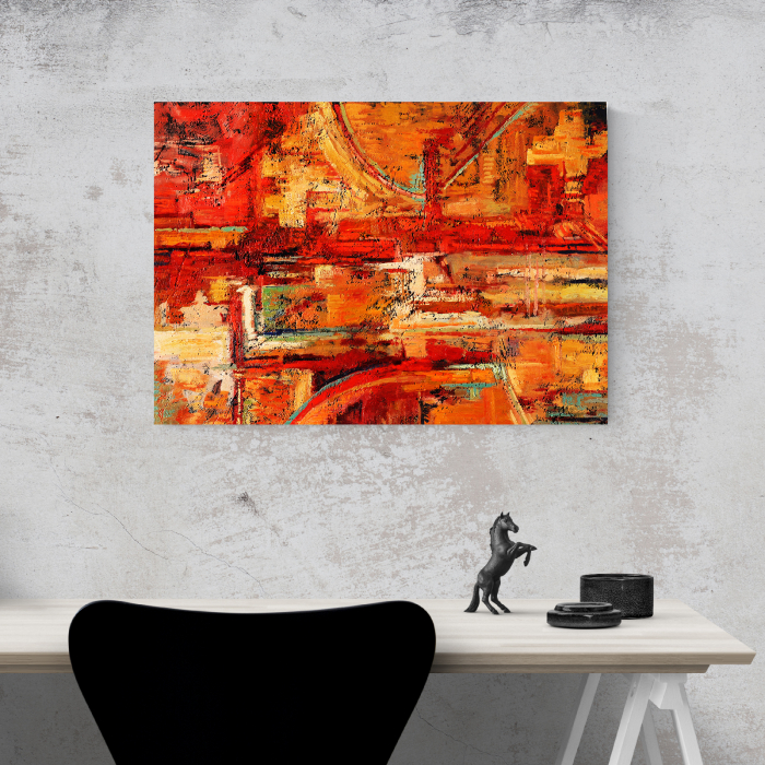 Tablou canvas abstract, Caramizi rosiatice 1
